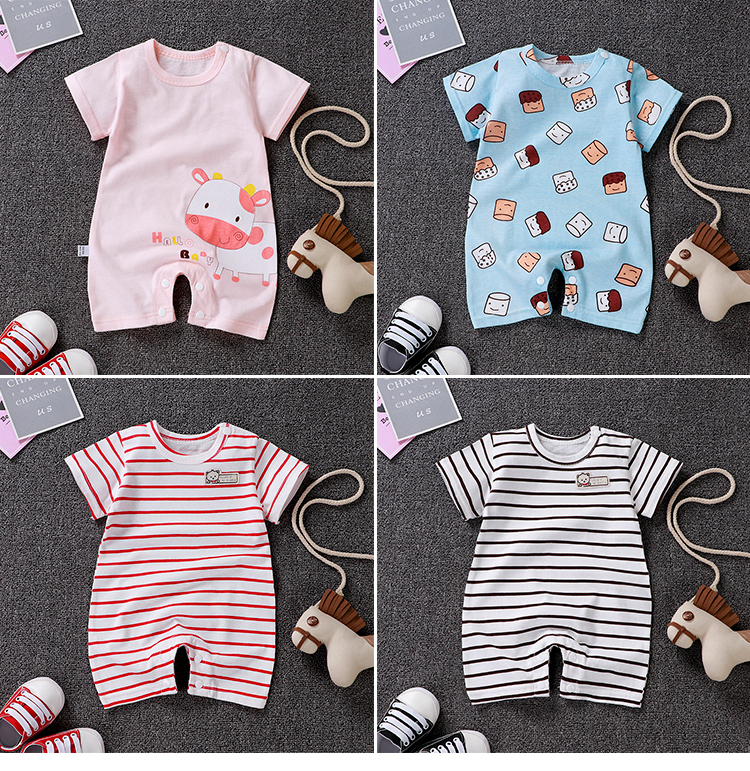 2019 Summer baby clothes Short Sleeved Baby   Romper   Cotton Newborn Body Suit Baby Pajama Boys Animal Little bear   Rompers