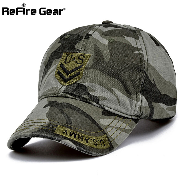 9b0ab21cb1f ReFire Gear Fashion Militar Style Men Camouflage Baseball Cap US Army  Tactical Snapback Hat Women Casual Summer Cotton Camo Caps