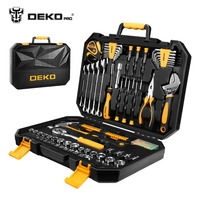 DEKOPRO 128 Pcs Hand Tool Set General Household Hand Tool Kit with Plastic Toolbox Storage Case Socket Wrench Screwdriver Knife