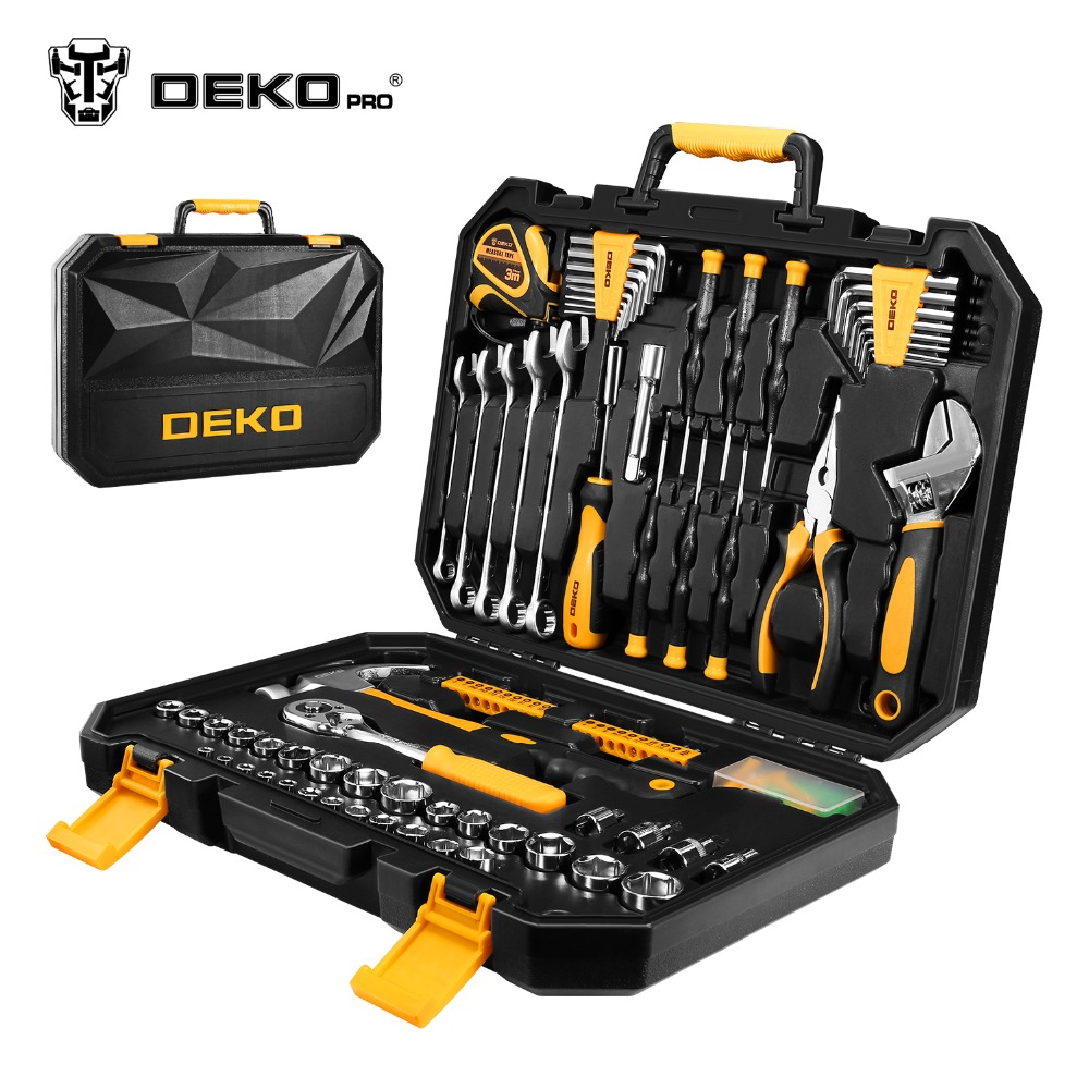 DEKOPRO 128 stücke Hand Tool Set Allgemeine Haushalt Hand Tool Kit mit Kunststoff Toolbox Lagerung Fall Steckschlüssel Schraubendreher Messer