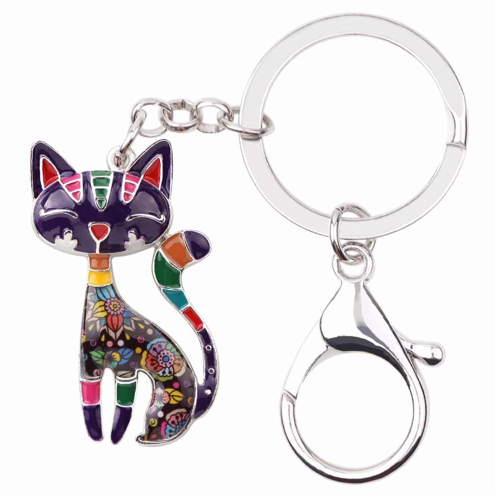 Bonsny โลหะเคลือบแมวแมว Key CHAIN แหวนผู้หญิงผู้หญิงกระเป๋าถือจี้ 2017 ใหม่สัตว์เครื่องประดับกุญแจรถอุปกรณ์เสริม