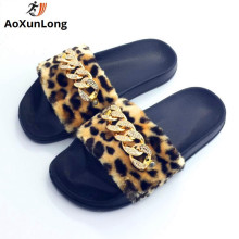 AoXunLong Fashion New Shiny Diamond Slipper Women Furry Home Slipper Плоские ботинки Женщины Leopard Pink Eu 36-41 Flip Flop Women Hot