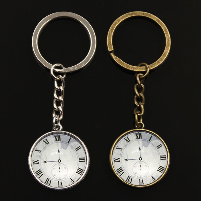 Fashion Birthday Gift Cute Vintage Clock Pocket Watches Cabochon Signs Keyrings Keychains Key Chains Rings Pendant Women Men