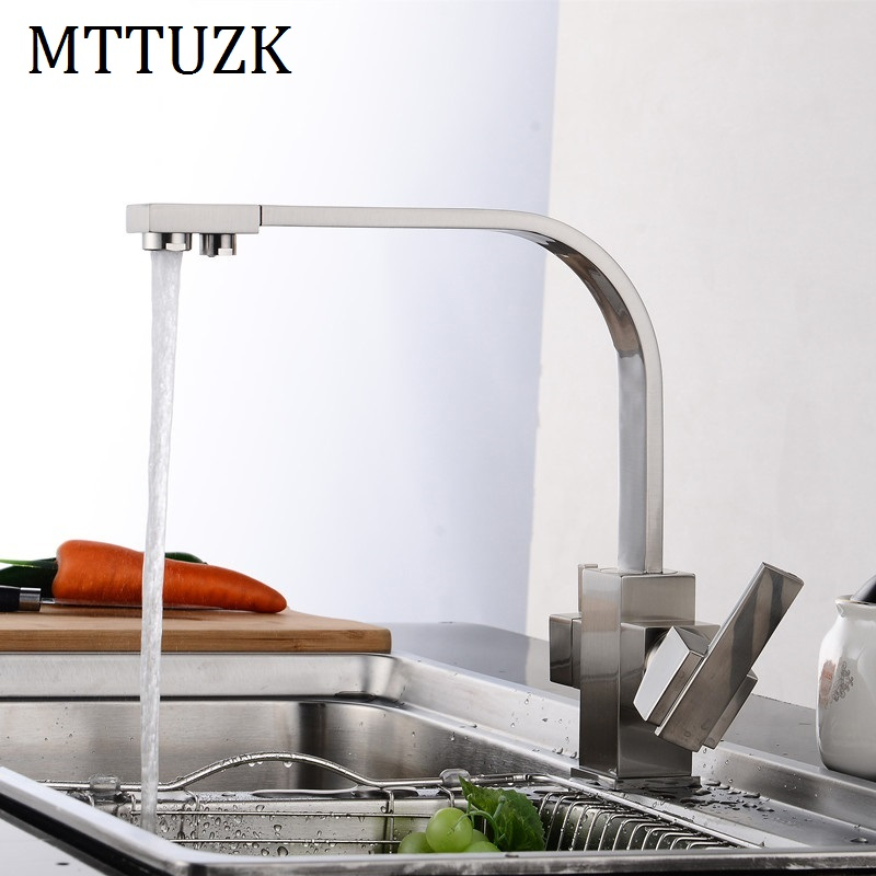 MTTUZK Multifunctional Black Kitchen Faucet Drinking Water Cranes Hot Cold Water Mixer Tap Antique Brushed Pure