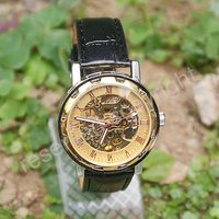 Luxury Brand New Automatic / Wind Up Mechanical Golden Tone Dial Mens Wrist Watch Nice Xmas Gift Wholesale Price A365