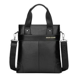 Image 2 - BISON DENIM bolso de mano de cuero genuino bolso de mensajero, de negocios, para hombre iPad vaca bandolera de cuero Crossbody bolsos masculinos N2202