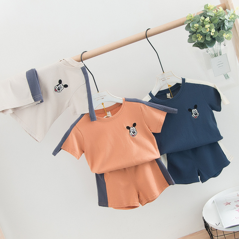 2019 New Arrival Girls Boys 2 PCS Patchwork Set Mouse T-shirt+Shorts Cotton Spring Girls Suits 1-6 Years