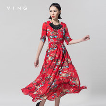 VING 2017 New Arrival Print Chiffon Dress Women O-Neck Short Sleeve Slim Bohemian Style Red Dress Lady Fashion A-Line Dress