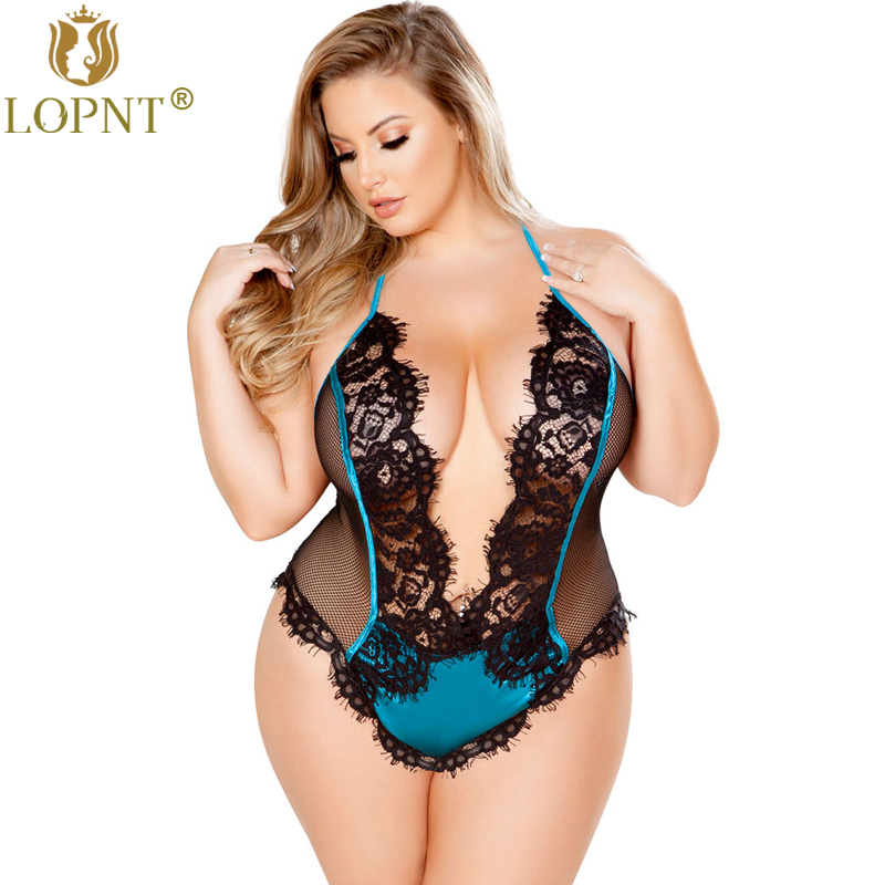 Buy LOPNT New Plus size sexy Lingerie teddy women deep-V sexy babydoll perspective lace bodysuit backless halter erotic underwear