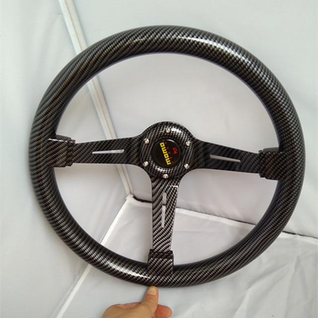 2016 New hot MOMO Universal TRUCK 14-inch / 350MM Imitation carbon fiber pattern Steering Wheel ABS