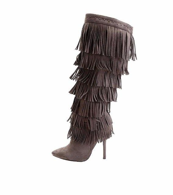2018 Pointed Toe Zipper Tassel Winter Boots Stiletto Sky High Heel