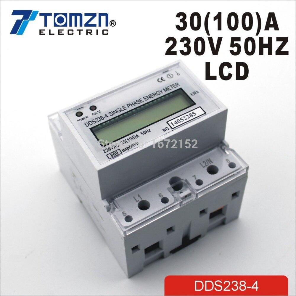 30(100)A 230V 50HZ max 100A Single phase Din rail KWH Watt hour din-rail energy meter LCD  цены
