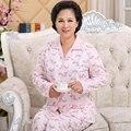 Algodón de manga larga de las mujeres pijamas Pijamas En los ancianos la primavera de mediana edad madre ropa de verano de gran tamaño casa trajes