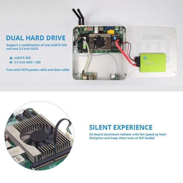 Мини ПК Intel Core i7 7500U i5 7200U i3 7100U офисный компьютер 4 K 300 M WiFi HDMI VGA 6 * USB Gigabit Ethernet Windows 10 Linux HTPC 4