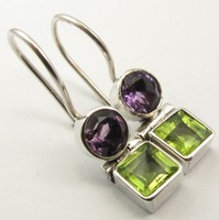 Silver Genuine AMETHYST PERIDOT Earrings 1 Inches SEMI PRECIOUS GEMSTONE