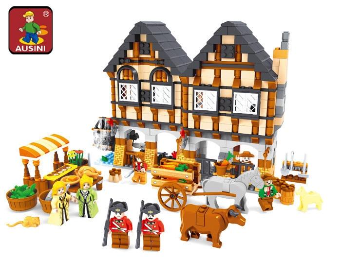 AUSINI 28001 Luxury Farm Holiday House Building Blocks Sets 884pcs Construction Bricks Boy Kids Toys детская игрушка ausini 28001 884pcs diy
