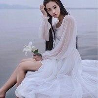 2484781b1 2016 Chiffon Nightgown Women S Long Pijamas Princess Sleepwear White  Nightshirt Long Robe AW300