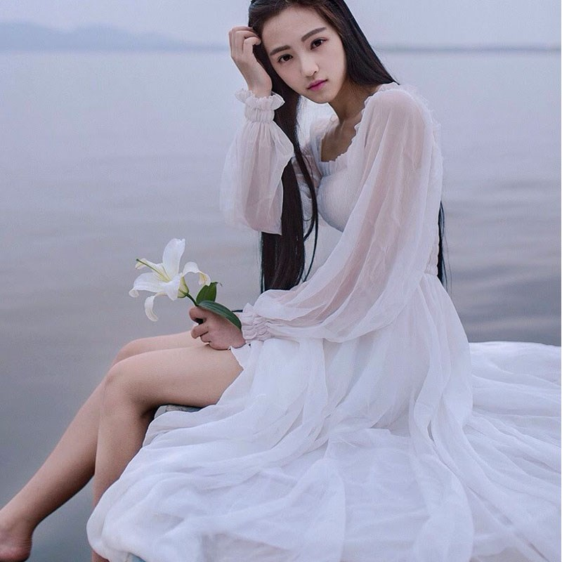 2019 Chiffon Nightgown Women's Long Pijamas Princess Sleepwear White Nightshirt Long Robe AW300