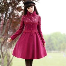 2016 New Fashion Women s Solid Color Winter Jacket Coat Stand Collar Long Sleeve Wool Overcoat
