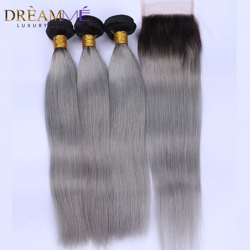 Ombre 1b Grey Straight Human Hair 3 Bundles With 4x4 Lace Closure Brazilian Non Remy Hair