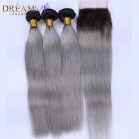 Ombre 1b серый прямо натуральные волосы 3 Связки с 4x4 закрытия шнурка бразильский не Волосы remy расширения Мечтая queen товары