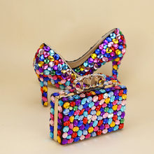 Woman Wedding shoes with matching bags Multicolored Big Luxury Rhinestone Wedding  shoe Bridal Bride High shoes and purse set d5ff662f60ff