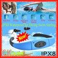 2016 NOVA VERSÃO Fones de Ouvido Bluetooth À Prova D' Água para a Natação Surf IPX8 Sports MP3 Player Neckband Rádio FM Fones de Ouvido Em Execução