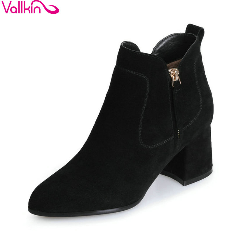 VALLKIN 2018 Women Boots Slim Look Short Plush Square High Heels Chunky Ankle Boots Sexy Pointed Toe Ladies Boots Size 34-39 esveva 2018 women boots zippers black short plush pu lining pointed toe square high heels ankle boots ladies shoes size 34 39