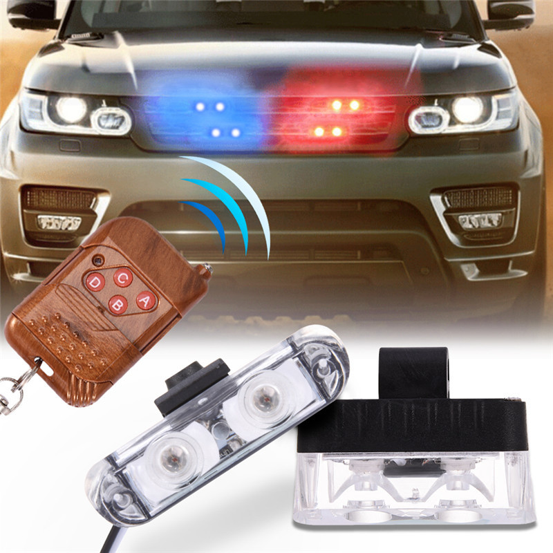 Newest DC 12V 2 LED Wireless Remote Flash Controller Car Truck Police Light Red and Blue Flashing Strobe led LED Warning Light police style car dc 12v 96 led red blue stroboscopic light with 3 mode controller