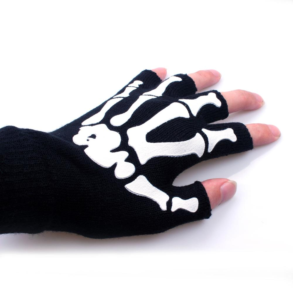 Pair of Winter Warm Gloves Halloween Christmas Skeleton Funny Claw Gloves Lady Man Keyboard Kids Playing Soft Finger Warming