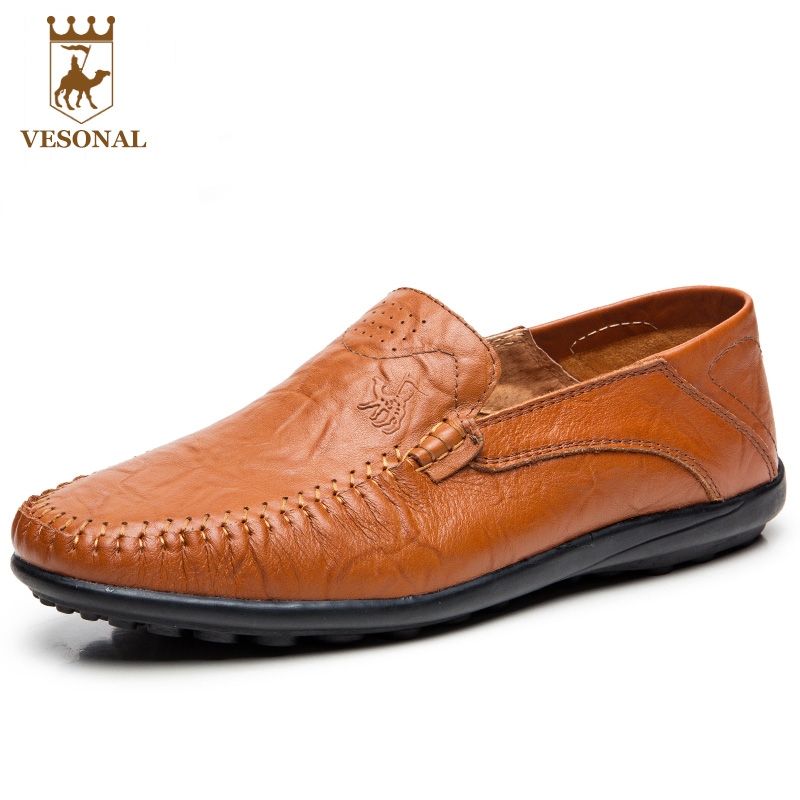 VESONAL Brand Men Loafers Casual Shoes Man Genuine Leather Adult Driving Moccasins Slip On Walking Breathable For Male Footwear branded men s penny loafes casual men s full grain leather emboss crocodile boat shoes slip on breathable moccasin driving shoes