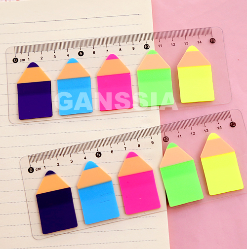 15cm Ruler Shape Pencil Design Sticky Note Hot Sale Notepad Marker Simple Escolar Stationery Office 1pc/lot Size ss-a977