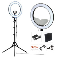 Studio Dimmable 18 55W 5500K LED Camera Mirror Video Ring Light Kit With 2M Stand Color