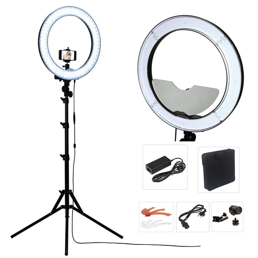 "Studio Dimmable 18"" 55W 5500K LED Camera Mirror Video Ring Light Kit with 2M Stand, Color Filer and Carry Bag for Makeup Photo"