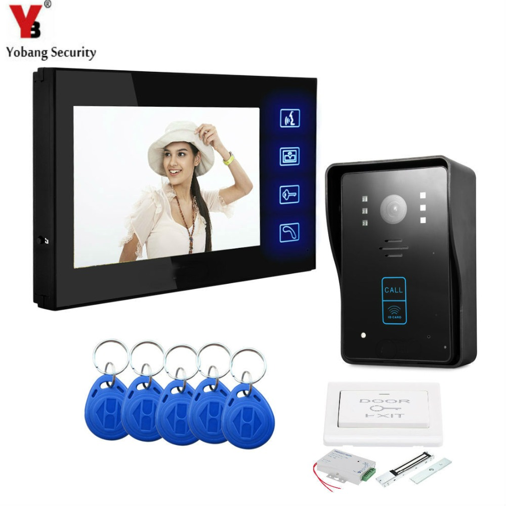 YobangSecurity 7 Inch Video Door Phone Intercom Doorbell Entry Intercom System Kit 1 Monitor 1 Camera With RFID Keyfob Door Lock