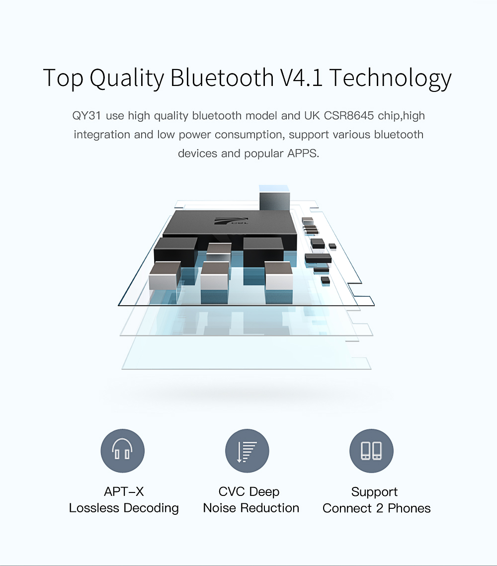 QCY QY31 Bluetooth Earphones IPX4 Sweatproof Earphone Ear Hook Wireless Sports Earbuds with MIC