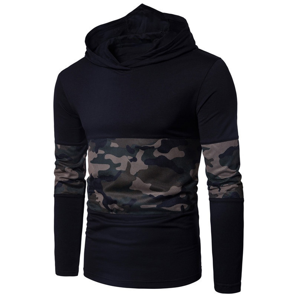 HOT 2017 Autumn winter outfit camouflage net cloth stitching Men hooded mesh assassin leisure long sleeve T-shirt hoody