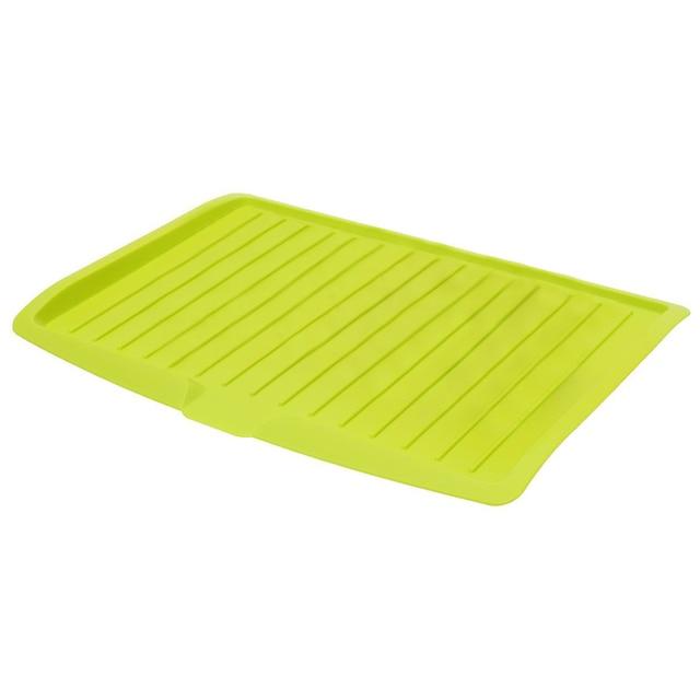 GVCD Dish Drainer Plastik Drip Tray Piring Sendok Garpu Rak Kitchen Sink Rak Pemegang Besar hijau