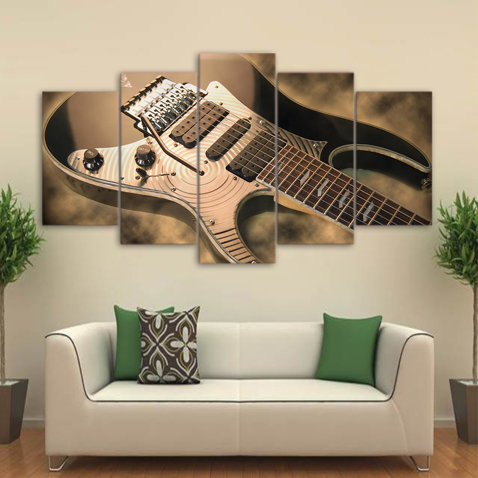 toile art mural cadre home decor photos 5 pi ces lectrique guitare peintures vintage musique. Black Bedroom Furniture Sets. Home Design Ideas