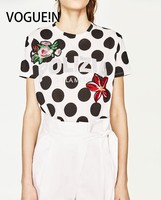 VOGUE N New Womens Polka Dot Print Floral Embroidered Patch Pullover Blouse Tops Shirt Size SML