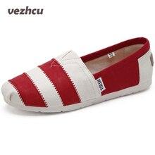 Vzehcu Повседневная Женская парусиновая обувь на плоской подошве модные эспадрильи на плоской подошве без застежки дышащие летние парусиновые Лоферы обувь 2e26