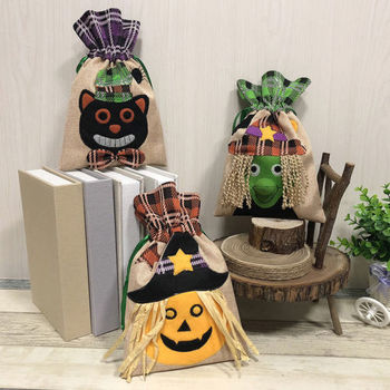 1Pcs Halloween Cello Party Loot Bags Pouch Sweet Bag Trick Or Treat Spooky Pumpkin Candy Bags Boxes Case Container Organizer
