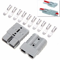 5pcs 600V 50A Grey Anderson Plug Connector Double Pole With 10pcs Contacts For Solar Panels 4WD