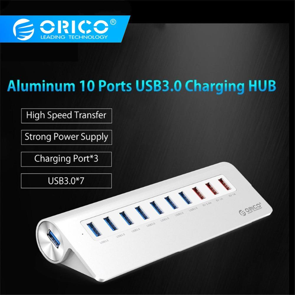 ORICO 10 Ports Super Speed USB HUB 7 Ports USB3.0 5Gbps 3 USB Charging Ports for iPhone iPad Vl812 Chip-Silver M3H73P