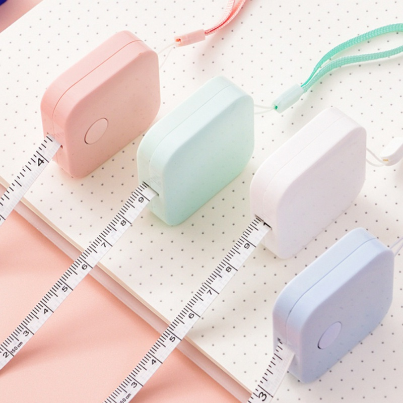 Portable 1.5m Retractable Ruler Centimeter/Inch Tape Measure Mini Ruler Colorful Cute Design Great For Travel Home