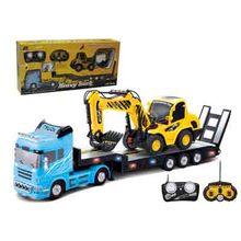 2 Unids/lote Gran Camión Coche de Control Remoto + RC Excavadora Remolque Desmontable Niños Eléctrica Coche Grande Coche Inalámbrico de Control Remoto juguete