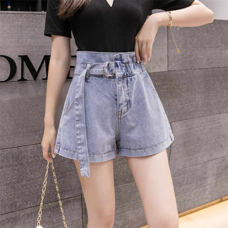 Summer Women Shorts 2019 Wild Elastic High Waist Loose Thin Denim Shorts Solid Color Ladies Large Size Slim Denim Shorts WIN876