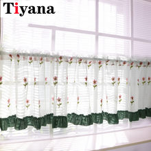 Kitchen cabinet curtain Flower Curtain Half Curtain Cabinet Dust Short Door Curtain Sheer For Kitchen Cafe Balcony Yarn DL021D4(China)