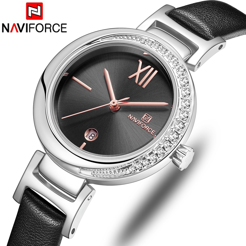 NAVIFORCE Top Brand Women Watch Flower Ladies Wristwatch Genuine Leather Strap Bracelet Female Clock New Relogio Feminino