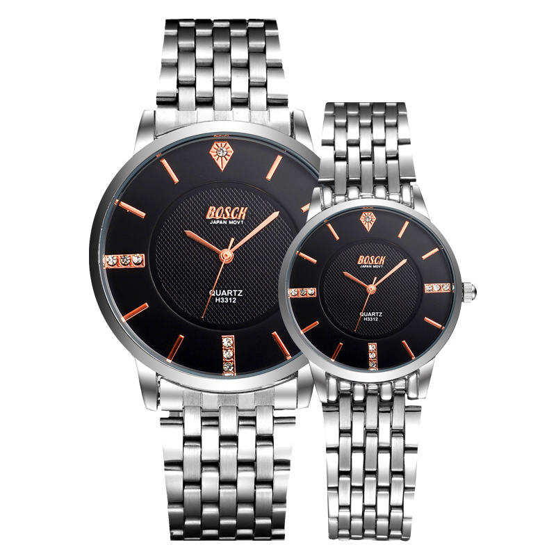 Men's Watches Ultra Thin Stainless Steel Band Quartz Wristwatch Casual Leather Watches